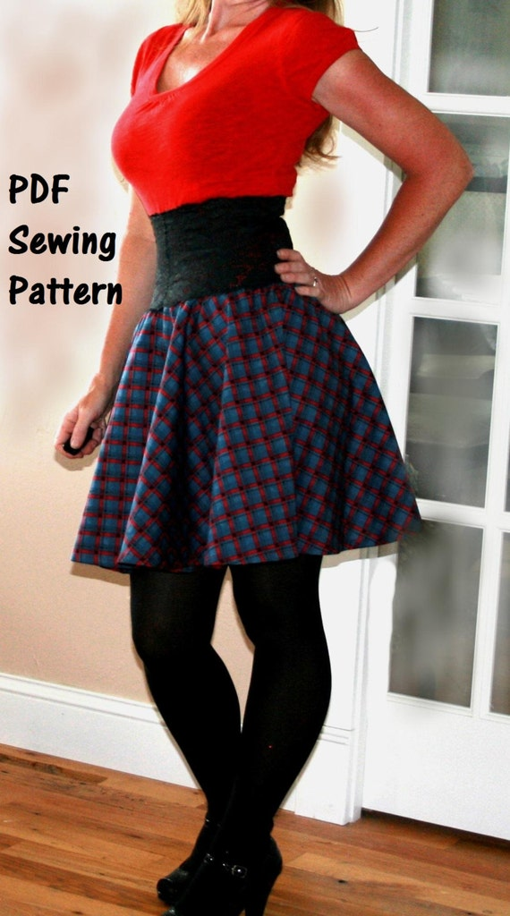Womens Sewing Pattern Circle Skirt Printable Pattern & PDF Sewing ...