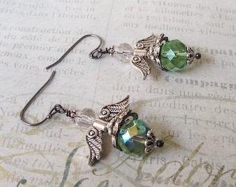 Green Angel  Wing Earrings, ON SALE, Angel Jewelry, Angel Earrings, Green Earrings, Wedding Earrings, Victorian Inspired