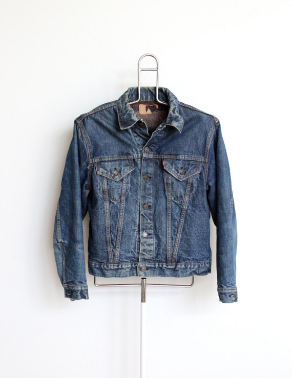 SALE / Big E Levis Denim Jean Jacket Mens Medium Unisex Womens Boyfriend Slouchy Distressed Well Worn Lined Indigo 50s 60s