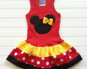 Girls Custom Mouse Dress Girls Tank Minnie Outfit Dresses Red Yellow Black Kids Baby Toddlers Sizes 6-9 12 18 24 Months Girls 2 3 4 5 6 8