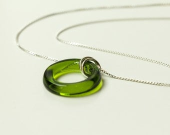 EMERALD GREEN Wine Bottle Pendant Necklace, Fused Glass Jewelry, Eco Friendly Gift, Dessin Creations
