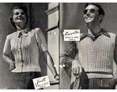 HALF PRICE 1940s Vintage Knitting Patterns For Women and Men Sweaters & Cardigans Sun Glo Knitting Book No. 127 Original Booklet