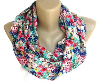 Valentines Day Gifts // Gifts For Her // Gifts For Women  Floral Silk Scarf Women Infinity Scarf  Fashion Accessories  senoaccessory