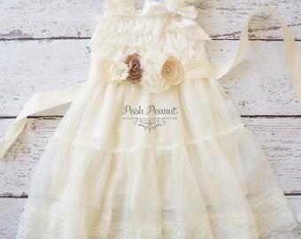 lace flower girl dress -girls ivory dress - rustic ivory flower girl dress- baby ivory dress -toddler dress - bridesmaid dress- baby dress