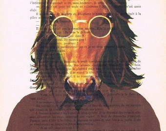 John Lennon horse: Print Poster Illustration Acrylic Painting Animal Portrait Wall Decor Wall Hanging Wall Art Drawing Glicee