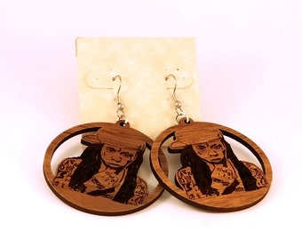 Lil Wayne Sustainable Wooden Hook Earrings - Sustainably Harvested Walnut Wood Dangle Earrings