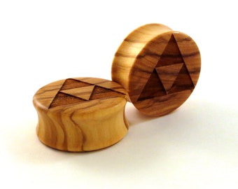 """Triforce Olivewood Wooden Plugs PAIR 2g (6.5mm) 0g (8mm) 00g (9mm) (10mm) 7/16"""" (11mm) 1/2"""" 13mm 9/16"""" 5/8"""" 3/4"""" + Wood Ear Gauges Tri Force"""