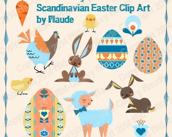 Easter Clip Art Mid Century Modern Scandinavian Retro Instant Download