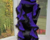 Special order Angela Boxley Hat and Scarf Ruffle Style Set Crocheted in Purple and Black w/ Flower