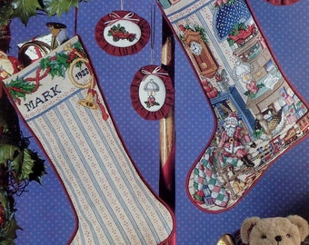 HOLIDAY STUDY Heirloom Christmas STOCKING Better Homes & Gardens - Counted Cross Stitch Pattern Chart - fam
