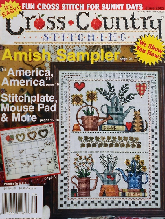 Cross country stitching amish sampler living water watering for Country living magazine cross stitch