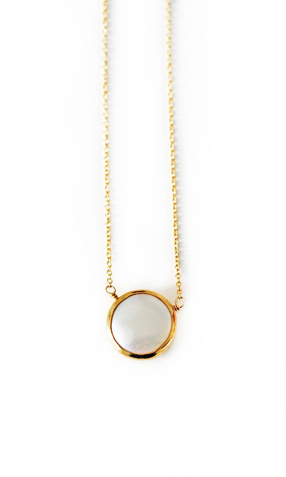 white PEARL coin necklace