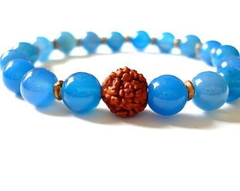 Moonstone Meditation Bracelet, Blue Moonstone, Rudraksha Seed Bead, Yoga or Meditation Bracelet