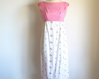 Vintage Embroidered Dress, Pink 60s Dress, Long Empire Waist Gown, Pink Garden Wedding, 1960 Prom, Pink Reception Dress