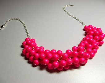 Swarovski Hot Pink Pearl Cluster Necklace, Wedding Valentines Mothers Day Bridesmaid  Christmas Mom Sister Jewelry Gift, Chunky Necklace