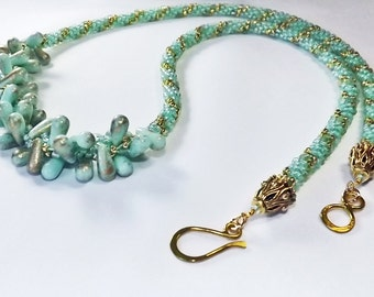 Kumihimo Handcrafted Mint Green and Gold Necklace with mint green and gold frosted dangles - One of a kind