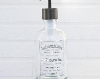 Hand Soap Dispenser | Paris Bathroom Decor | Glass Soap Dispenser Bottle | Bathroom Accessories | Liquid Soap Dispenser | Farmhouse Decor