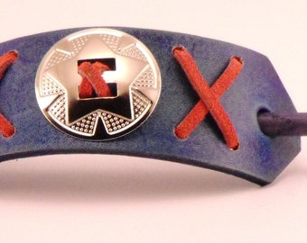 Mariner Blue Leather barrette with wooden stick