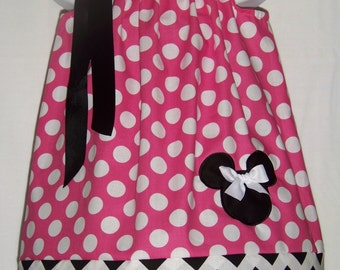 Minnie Mouse Pillowcase Dress / Disney / Chevron / Pink & White Polka Dot / Infant / Baby Girl / Toddler / Custom Boutique Clothing
