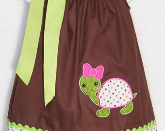 Turtle Pillowcase Dress / Green / Brown / Cute / Birthday / Newborn / Infant / Girl / Baby / Toddler / Handmade / Custom Boutique Clothing