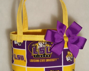 LSU Reversible Purse / Purple & Gold / Removable Bow / Girl / Toddler / Custom Boutique Clothing
