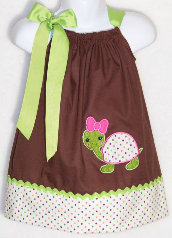 Cute Ideas For Pillowcase Dresses : Turtle Pillowcase Dress / Green / Brown / Cute by KarriesBoutique