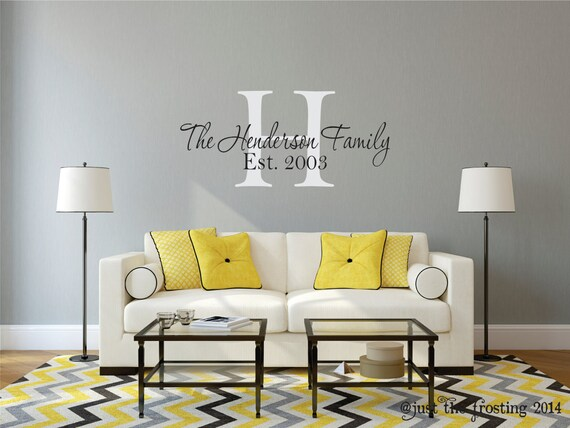 Family Name Decal, Vinyl Wall Decals Personalized Family Name, Vinyl Lettering, Family Wall Decal, Wedding Gift Decal