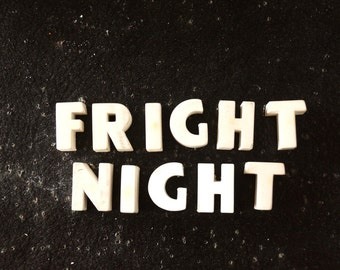 """Vintage White Ceramic Push Pins """"FRIGHT NIGHT"""" (c.1940s) - Halloween Bulletin Board Decor, Altered Art Supply, and more"""