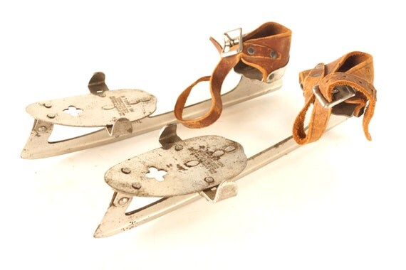 Antique Winslow's Ice Skates with Leather Straps (c.1800s) - Collectible, Lodge, Cabin or Home Decor