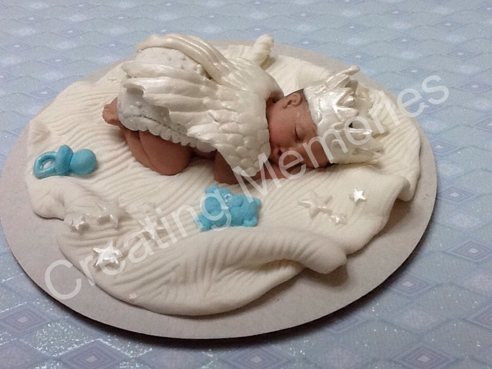 Fondant Baby Boy with Angel Wings Cake Topper/Cake