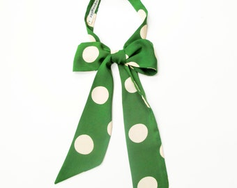 Giant polka dots vintage influenced neckerchief, matcha green and cream
