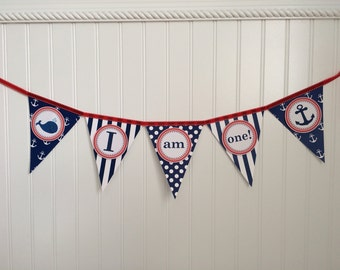 I am One - Nautical Birthday - Baby's First Birthday Highchair Banner - red-white-navy blue