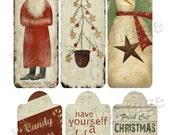 Prim ChristmasTags, Print sheet, 6 tags, Download, Print