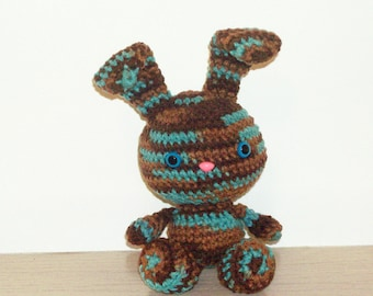 Tie Dye Bunny - Crochet Bunny Doll in Browns and Aqua Blue (Finished Doll)