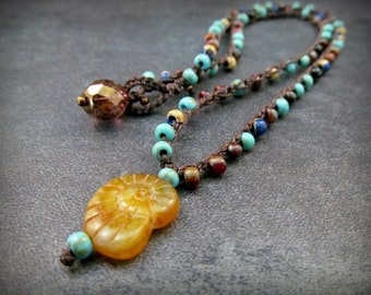 Turquoise Crochet Necklace, Earth and Sea, Bohemian Boho Chic Jewelry