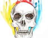 Rainbow Skull - Original Watercolor and ink painting