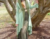 Diana Long Fitted Stretch Jacket Hooded Maxi Coat w. Pockets in Cilantro Green Modal / Fairy Couture, Game of Thrones Costume, Medieval