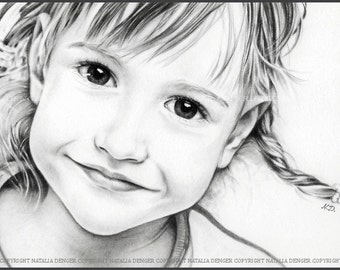 CUSTOM Portrait, Pencil Portrait, Charcoal Portrait, Girl, Face, Special Gift, Birthday Gift for Mom, Gift for Dad, Wedding Gift