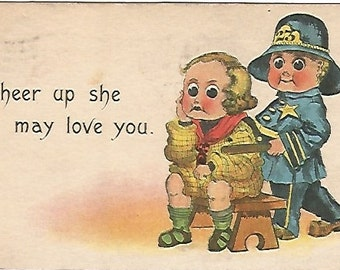 """Antique Postcard """"Cheer up she may love you"""" 1914 SB Samson Bros Police Officer Copper Comic"""