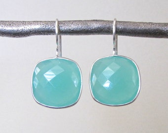 Silver Aqua Chalcedony Gemstone Earrings - Gemstone Earrings - Drop Earrings - Bridesmaid Earrings