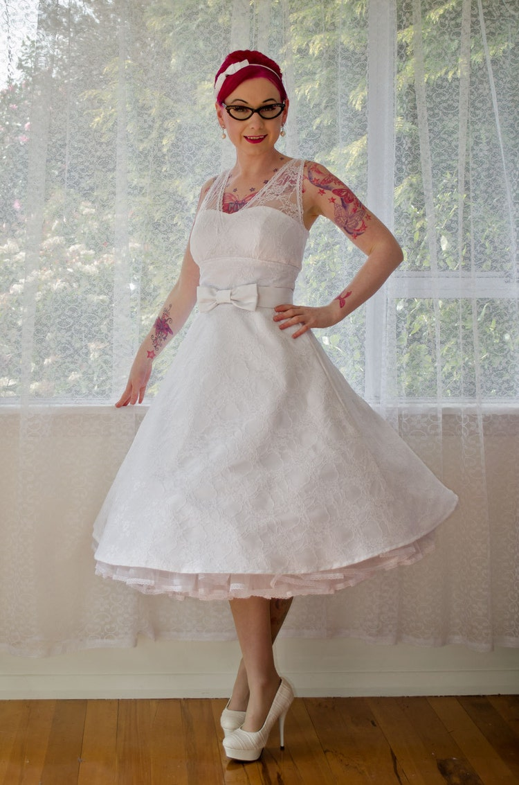 1950s Rockabilly Wedding Dress Gayle With Lace By