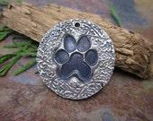 "Artisan Silver Precious Metal Clay ""Puppy Paw"" Pendant"