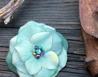 Single Stem Hydrangea - Flower Hair Clip - Couture Trompe L'oeil Fleur - Teal - Turquoise