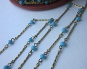 One Yard Vintage Turquoise  Glass Beaded Chain
