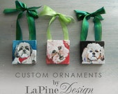 "Custom 2""x2"" Painting : Pet Portrait Ornament and Magnet by LaPine Design"