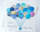 Handmade 3D Personalised New Baby Boy Card - Blue Balloons Card, New Baby Boy, New Baby Congratulations, New Baby, A Brand New Baby (BHBB1