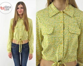 SALE - 70s Diane Von Furstenberg Floral Boho Crop Top ΔΔ Boho Crop Top Ditsy Floral Top Designer Vintage 1970s Boho Top ΔΔ xs / sm