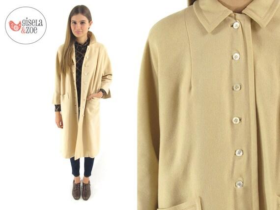 1950s Cream Wool Coat Midi Wool Coat Basket Weave Classic Wool Coat / xsmall / small / medium