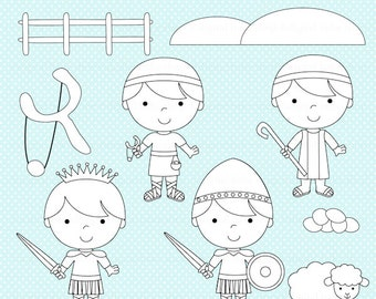 christian clipart stamps bible david goliath clip art - David and Goliath Digital Stamps