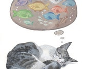 Cat dreaming of fish - Print of Original Watercolor Painting